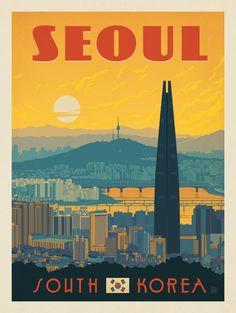 Anderson Design Group Anderson Design Group – World Travel – South Korea: Seoul illustration Bts Poster, Poster Wall, Poster Prints, Art Prints, South Korea Seoul, South Korea Travel, North Korea, Korea Wallpaper, Fu Dog