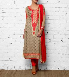 Brown Georgette Anarkali Suit $135