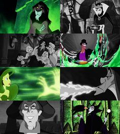 Disney Villains- if the other ones were in color, it would have been christmas colors (reds and greens)
