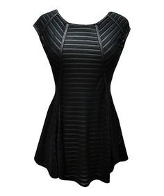Black Textured Low-Back Peplum Top by Potter's Pot #zulily #zulilyfinds