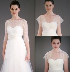We currently have the lace cover-up pictured at the left and the bolero on the bottom right.  Contact the Wedding Suite at Nordstrom Village of Merrick Park for details.