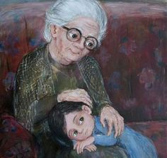My Grandma, the Most Beautiful Star in the Sky Art And Illustration, Art Painting Gallery, Painting & Drawing, Older Couple Photography, Iphone Wallpaper Cat, Sad Paintings, Grandmothers Love, Mother Art, Cartoon People