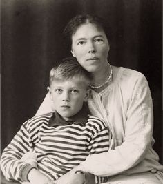 Grand Duchess Olga Alexandrovna Romanova of Russia in Denmark with one of her sons, Guri Nikolaevich Kulikovsky