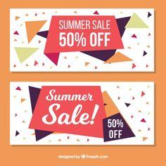 Banners abstractos de rebajas de verano con polígonos Vector Gratis