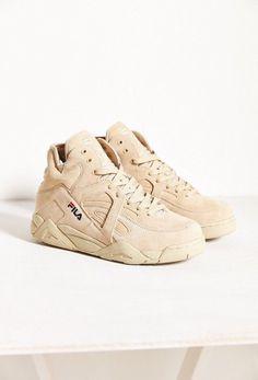 shoes fila beige nude sneakers high top sneakers suede sneakers urban dope  Chaussure Sneakers, Sneakers 45824517c4f