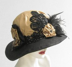 Womens Hat Vintage Style Edwardian Hat with Feathers Titanic Style Hats  Black and Gold Downton Abbey Hat. $215.00, via Etsy.
