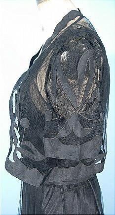Dress - c. 1937 Black 3-piece Gown with Belt. Detail