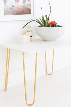diy marble and gold side table sugar and cloth home decor ideas rh pinterest com