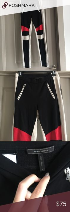 """BCBG maxazria leggings These edgy leggings are perfect for a night out!  Nice thick material.  Size small.  I am 5'8"""" and they go all the way to my ankles. BCBGMaxAzria Pants Leggings"""
