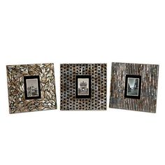 IMAX Jacobs Mother of Pearl Photo Frames - Set of 3 - 31098-3. IMAX Jacobs Mother of Pearl Photo Frames - Set of 3 - 31098-3 Mosaic inlaid Mother of Pearl adorns this set of three photo frames with dramatic contrast. Product Specifications Dimensions 12 W x 12 H (inches) Item weight 3.. . See More Picture Frames at http://www.ourgreatshop.com/Picture-Frames-C736.aspx