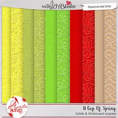 A Cup Of Spring digital scrapbooking solid and embossed papers add on from Aurelie Scrap. Spring is here and now with a beautiful weather, flowers blooming and all the outdoor activities we have so much photos and this kit is perfect to document all those fun moments on your digital scrapbooking layouts.