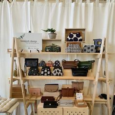 6 ft Wooden Ladder - Christmas Village Display - Craft Show Display - Portable Display - Display Stand - Trade Show Display - Wooden Shelves Wood Ladder Shelf, Wooden Ladder, Wooden Shelves, Ladder Decor, Rustic Ladder, Floating Shelves, Craft Show Displays, Display Ideas, Craft Show Booths