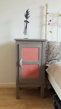 French Linen bedside cabinet with a little Scandinavian Pink,using Annie Sloan chalk paint
