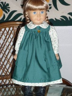 1800s 2 Pc Little House Prairie Pioneer Outfit - Dress and Pinafore for American Girl Kirsten 18 inch doll by alohagirldollclothes on Etsy