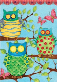 """Hoot Polka Dot Owl Butterfly Double Sided Garden Flag 13 x 18 by Flag Trends. $8.95. Silky Soft, Fade and Mildew Resistant Dura Soft Fabric.. Reads Correctly From Both Sides. Hand wash, cold water, mild soap.. Flag Trends Decorative Garden Flag Dimensions: 13"""" x 18"""".. Buy direct from Flags On A Stick and save on all your decorative flags today!. New for 2013. Hoot Flag designed by Deb Grogan for Flag Trends. The flag features a trio of brightly colored owls accented with ..."""