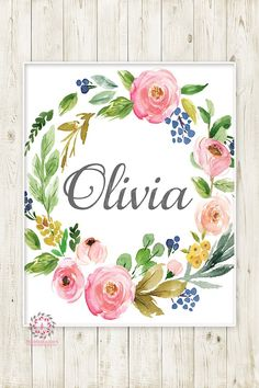 Baby Name Monogram Initial Personalized Wall Art Print Initials Birth Announcement Gift Watercolor Floral Baby Nursery Printable Decor - My Website 2020 Name Paintings, Nursery Paintings, Pink Forest, Woodland Decor, Kids Room Wall Art, Personalized Wall Art, Girl Nursery, Nursery Name Art, Baby Name Art