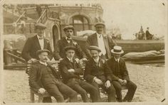 A group of men on a works outing to Brighton, photographed on Brighton beach, near the Free Shelter Hall, by Richard William Cartwright or one of his operators Old Pictures, Old Photos, Brighton Sea, Richard Williams, Local History, East Sussex, Vintage Postcards, Seaside, England
