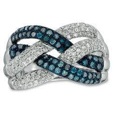 1 CT. T.W. Enhanced Blue and White Diamond Loose Braid Ring in 10K White Gold