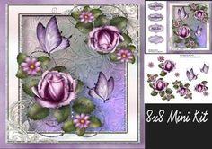 Beautiful Lilac Roses & Butterflies 8x8 Mini Kit