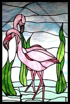 Flamingos stained glass window