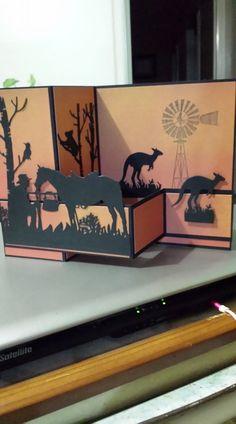 Z Cards, Fun Fold Cards, Folded Cards, Xmas Cards, Australian Christmas Cards, Aussie Christmas, Horse Cards, Westerns, Shaped Cards