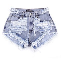 Marmo Ripped Missdenim Shorts Highwaisted Cutoffs Studded Ripped... ($60) ❤ liked on Polyvore featuring shorts, bottoms, pants, short, black, women's clothing, short shorts, black shorts, distressed high waisted shorts and black short shorts
