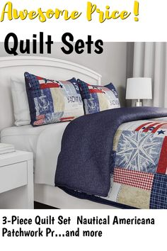 3-Piece Quilt Set Nautical Americana Patchwork Print All-Season Soft Microfiber Bedspread with Shams - Bedding by LHC (Full/Queen) ... (This is an affiliate link) #quiltsets