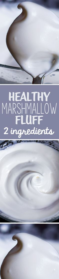 Just 5 minutes + 2 ingredients = the most amazing healthy marshmallow fluff recipe, and it's vegan with aquafaba