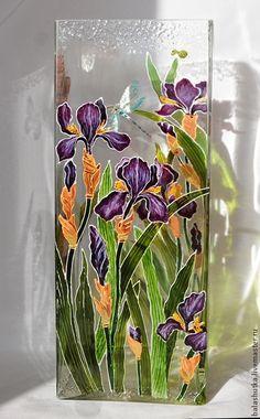 Painted Glass Vases, Painted Wine Bottles, Wooden Vase, Ceramic Vase, Glass Painting Patterns, Glass Painting Designs, Stained Glass Paint, Stained Glass Designs, Bottle Painting