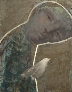 "Alexey Terenin ""man with a bird study"" 45x35 c. oil on canvas."