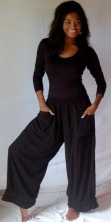 BLACK PANT WIDE LEG POCKETS LAGENLOOK ELASTIC ANKLE - FITS (ONE SIZE) - L XL 1X 2X - X8926S LOTUSTRADERS LOTUSTRADERS. $37.99