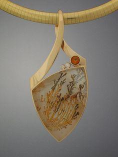 Murphy Design; dendritic agate, citrine and diamond pendant. Nice bale
