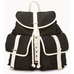Sleek Canvas Backpack ($23) ❤ liked on Polyvore featuring bags, backpacks, canvas backpack, draw string bag, draw string backpack, day pack backpack and drawstring bag