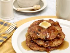 Oatmeal Cookie Pancakes -One of my favorite things.  Use wheat flour, lowfat milk, and greek yogurt instead of sour cream still yummy.