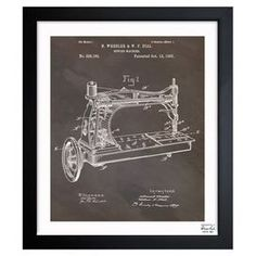 Inspired by authentic patent drawings, this handcrafted art print showcases an antique sewing machine motif—making a perfect accent to flea market finds and vintage treasures.   Product: Framed printConstruction Material: Fine art print and woodColor: Black frameFeatures:  Matte proof paperMade in the USAReady to hang Limited open edition with certificate of authenticity by the artist Cleaning and Care: Dust lightly with a clean, lint-free cotton rag