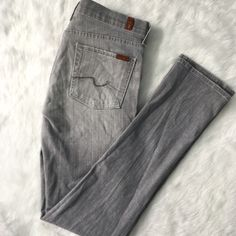 "7 For All Mankind Grey Roxy 33"" Inseam Hello tall girls! These jeans are dying for you - a full 33 inches of high quality, classic 7FAM staple denim! The Roxy is a straight cut, very versatile, and these are in near-perfect condition! 7 for all Mankind Jeans Straight Leg"