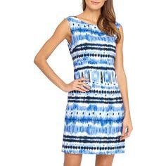 Petite Tahari Ikat Print Linen Blend Sheath Dress ($118) ❤ liked on Polyvore featuring dresses, petite, sleeveless sheath dress, boatneck sheath dress, boat neck dress, blue ikat dress and elie tahari dresses