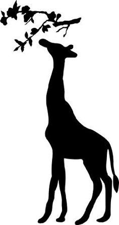 Giraffe Silhouette With Branch wall saying vinyl lettering art decal quote sticker home decal Animal Stencil, Stencil Art, Stencils, Giraffe Silhouette, Silhouette Art, African Animals, African Art, Giraffe Tattoos, Cute Giraffe