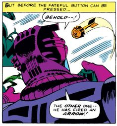 If the arrow was moving slowly enough that I could say all of that, I'd probably try to dodge it. From Avengers v.1 #27