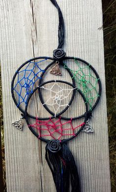 48378ba03ed Small triquetra dream catcher black with white bordo green blue with  triquetra charms and black roses gothic pagan wiccan dreamcatcher
