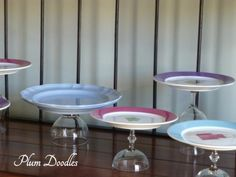 DIY cupcake stands [Thrift store plates, dollar tree glasses?]