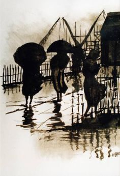 "Saatchi Art Artist H Kemp; Painting, ""Walking in the Rain"" #art"