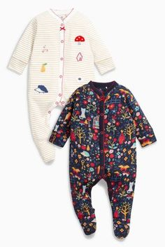 Buy Ecru/Navy Print Sleepsuits Two Pack (0mths-2yrs) from the Next UK online shop