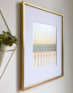 8x10 Blue And Gold Tribal Wall Art Modern Boho Aztec Print