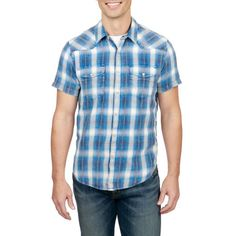 Lucky Brand  Palos Verdes Western Shirt ($60) ❤ liked on Polyvore featuring men's fashion, men's clothing, men's shirts, men's casual shirts, blue plaid, mens plaid shirts, mens plaid western shirts, mens western style shirts, mens blue plaid shirt and mens western shirts