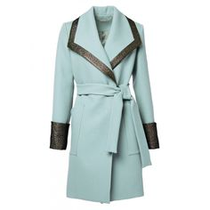 Teal Ornate Brocade Double Breasted Coat (£1,010) ❤ liked on Polyvore featuring outerwear, coats, jackets, coats & jackets, mint green coat, belted coat, mint coat, wool coat and wool wrap coat