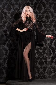 285920edc Gothic Glamour Cyrena Tulle Skirt in Black with High Double Slit - All  Black Everything -