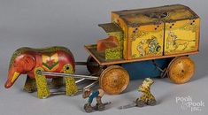 Lindstrum tin lithograph wind-up circus wagon