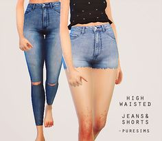 """puresims: """" high waisted jeans & shorts / download here i knowww it's not much of a download but i'm out of inspiration and i still wanted to upload something so this is it. the package includes: • 4..."""