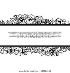 Floral frames. Decorative vector design elements. Black and white monochrome background.